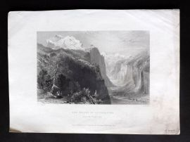 Bartlett Switzerland C1838 Antique Print. Valley of Lauterbrunn